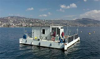 The floating laboratory LéXPLORE on Lake Geneva. (Photo: Natacha Tofield-Pasche, EPFL) The floating laboratory LéXPLORE on Lake Geneva. (Photo: Natacha Tofield-Pasche, EPFL)