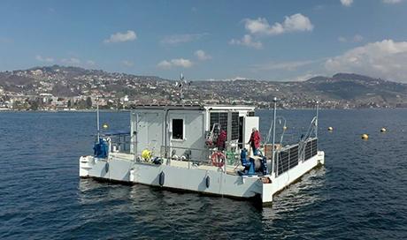 The floating laboratory LéXPLORE on Lake Geneva. (Photo: Natacha Tofield-Pasche, EPFL)
