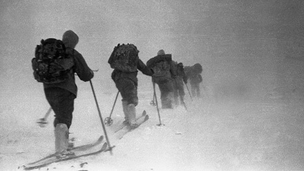 Dyatlov's group on February 1st on their way to Kholat Syakhl. (Image: Dyatlov Memorial Foundation)