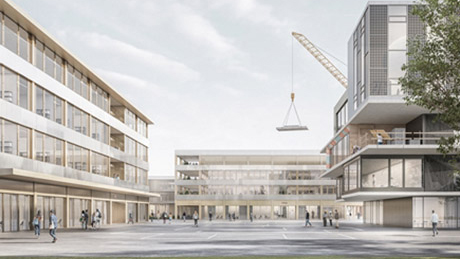 Les nouvelles façades de la Place du Campus – à gauche: le bâtiment de laboratoires, au fond: le bâtiment multifonctionnel – font écho à l'actuel bâtiment du NEST. Illustration: SAM Architects / Filippo Bolognese Images